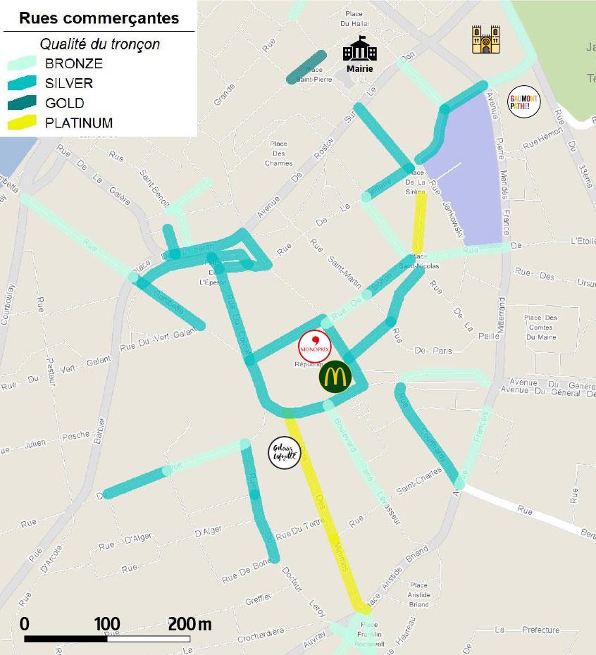Centre commercial Les Jacobins : carte des rues commerçantes